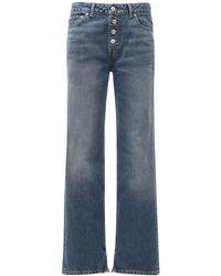 Ganni Washed Cotton Denim Cropped Jeans - Blue