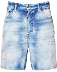 DSquared² 33cm Relaxed Cotton Denim Shorts - Blue