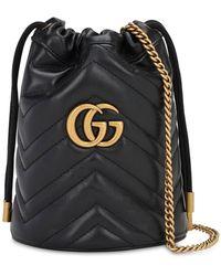 Gucci - Sac seau noir Mini GG Marmont 2.0 - Lyst