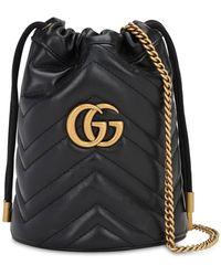 Gucci ブラック ミニ GG マーモント 2.0 バケットバッグ