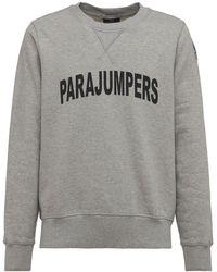 Parajumpers Logo Printed Cotton Crewneck Sweatshirt - Grey