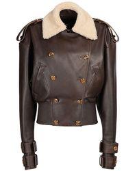 Balmain Vintage レザーボンバージャケット - ブラウン