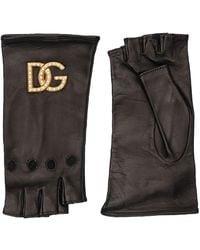 Dolce & Gabbana Dg レザーフィンガーレスグローブ - ブラック