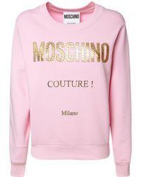 Moschino Sweathirt Aus Baumwolljersey Mit Logo - Pink