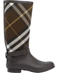 Burberry - Check Canvas & Rubber Rain Boots - Lyst