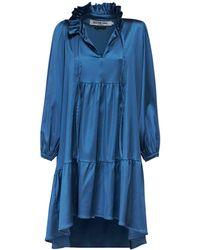 Acheval Pampa Campo Ruffled Satin Midi Dress - Blue