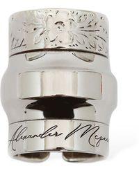 Alexander McQueen Engraved Logo Stacked Ring - Metallic