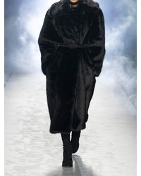 Alberta Ferretti Faux Fur Long Coat - Black