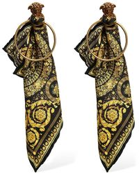 Versace Baroque Sash Hoop Earrings - Mettallic