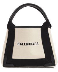 Balenciaga Navy Cabas キャンバストップハンドルバッグ - ブラック