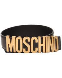 Moschino - Cinturón De Piel Con Logo - Lyst