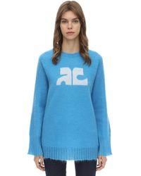 Courreges モヘア混 長袖セーター - ブルー