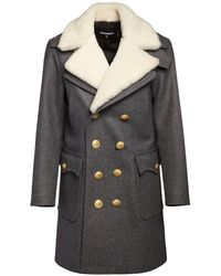 DSquared² Double Breast Wool Pea Coat W/ Shearling - Многоцветный