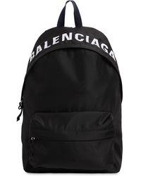 Balenciaga Wheel Logo-print Woven Backpack - Black