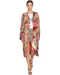 Etro Kimono De Seda Y Viscosa Con Flequillo - Multicolor