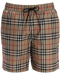 Burberry Shorts Mare In Techno Tessuto Check - Multicolore