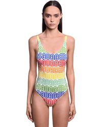 DSquared² Rainbow Logo One Piece Swimsuit - Mehrfarbig