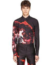 Alexander McQueen プリントシルクシャツ - ブラック
