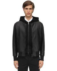 Neil Barrett Hooded Leather Bomber Jacket - Black