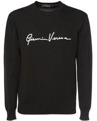 Versace Pull-over Col Rond En Maille Détail Logo - Noir