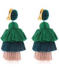 Oscar de la Renta Silk Tiered Tassel Clip-on Earrings - Green