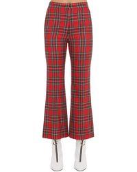 Pushbutton Pantalon Évasé À Carreaux - Rouge