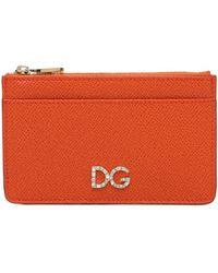Dolce & Gabbana Kartenhülle Aus Leder Mit Dg-logo - Orange