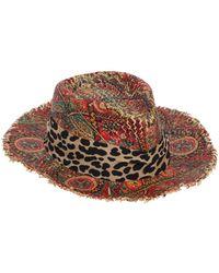 Etro   Printed Straw Hat W/ Fringed Edges   Lyst