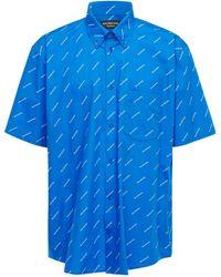 Balenciaga Рубашка Из Хлопка - Синий