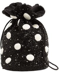 Ganni Polka Dot Beaded Bucket Bag - Black