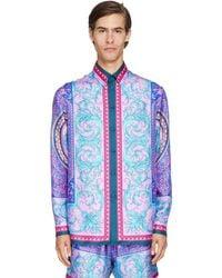 Versace Seidenhemd Mit Druck - Blau
