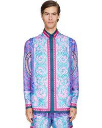 Versace Camisa De Seda Estampada Con Manga Larga - Azul