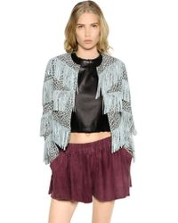 DROMe - Leopard Printed & Fringed Suede Jacket - Lyst