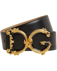 Dolce & Gabbana 50mm Dg Barocco Smooth Leather Belt - Black