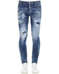 DSquared² 16cm Jeans Aus Stretch-denim Im Sexy-twist-stil - Blau