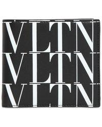Valentino Garavani Vltn Times Print Leather Wallet - Schwarz