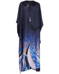 Emilio Pucci Платье-кафтан Из Шелкового Атласа - Синий
