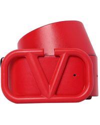 """Valentino Garavani Двухсторонний Кожаный Ремень """"go Logo"""" 70мм - Красный"""