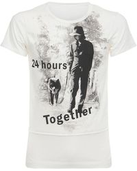 Yohji Yamamoto Camiseta De Jersey De Algodón Estampada - Blanco
