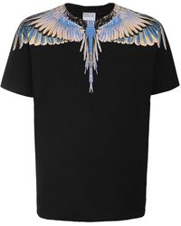 Marcelo Burlon Wings Print Cotton Jersey T-shirt - Black