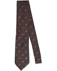 Etro - Cravatta In Lana E Seta Jacquard 8cm - Lyst
