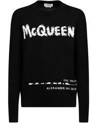 Alexander McQueen Трикотажный Свитер С Интарзийным Рисунком - Черный