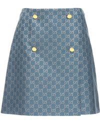 Gucci Gg ウールラメミニスカート - ブルー