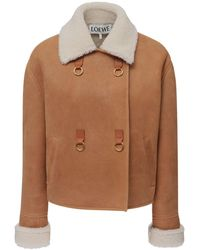 Loewe Double Breasted Shearling Jacket - Brown
