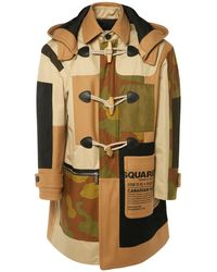 DSquared² Camo Wool Blend Canvas Coat - Multicolour