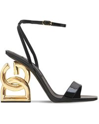 Dolce & Gabbana 90's Logo パテントレザーサンダル 105mm - ブラック