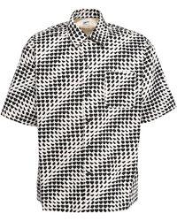 Marni Рубашка Из Хлопкового Поплин С Принтом - Черный