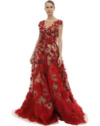Marchesa Embellished Tulle & Silk Organza Dress - Red