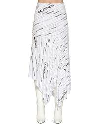 Balenciaga Юбка Из Визкозного Джерси С Принтом Логотипа - Белый