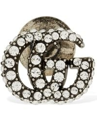 Gucci Gg Marmont Crystal Brooch - Metallic